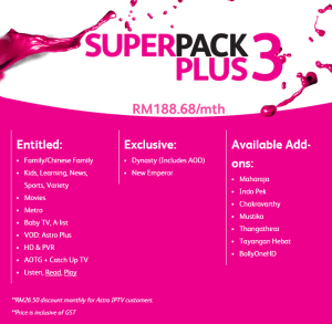 Time Fibre Internet astro iptv Superpack plus 3