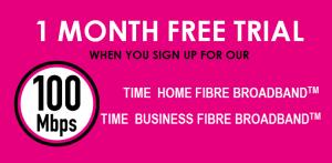 TIME fibre Broadband free trial