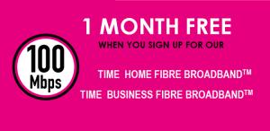 TIME fibre Broadband promotion