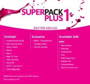 Time Fibre Internet astro iptv Superpack plus 1