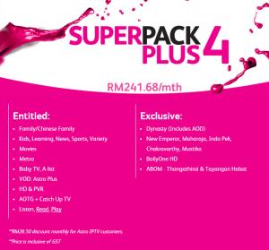 Time Fibre Internet astro iptv Superpack plus 4