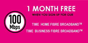 TIME fibre Broadband promotion